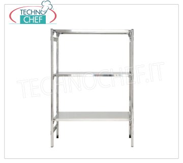 TECHNOCHEF - Stainless steel shelf, module with 3 smooth shelves, DEEP 50 cm, HEIGHT 150 cm. Polished 304 stainless steel shelving with 3 smooth shelves, 3x135 Kg global capacity, hook mounting, 60x50x150h cm module