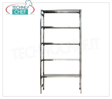 TECHNOCHEF - Stainless steel shelf, modules with 5 smooth shelves, DEEP 30 cm, HEIGHT 250 cm. Shelving 304 stainless steel Shiny with 5 smooth shelves, Global capacity 5x100 Kg, hook mounting, module 60x30x250h cm