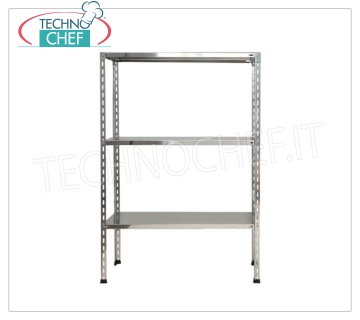 TECHNOCHEF - Stainless steel shelf, module with 3 smooth shelves, 60 cm deep, 150 cm high. Polished 304 stainless steel shelving with 3 smooth shelves, 3x135 Kg global capacity, bolt mounting, 60x60x150h cm module