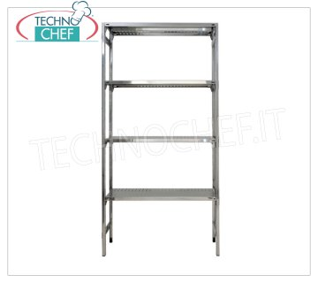 TECHNOCHEF - Stainless steel shelf, module with 4 slotted shelves, 30 cm deep, 200 cm high. Shelving 304 stainless steel Shelving with 4 slotted shelves, Global capacity 4x100 Kg, hook mounting, module 60x30x200h cm