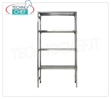 TECHNOCHEF - Stainless steel shelf, modules with 4 slotted shelves, 60 cm deep, 180 cm high. Polished 304 stainless steel shelving with 4 slotted shelves, 4x135 Kg global capacity, hook mounting, 60x60x180h cm module