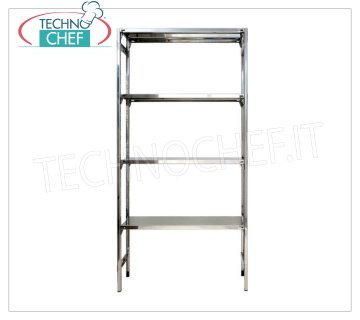 TECHNOCHEF - Stainless steel shelf, module with 4 smooth shelves, DEEP 30 cm, HEIGHT 200 cm. Polished 304 stainless steel shelving with 4 smooth shelves, 4x100 Kg global capacity, hook mounting, 60x30x200h cm module