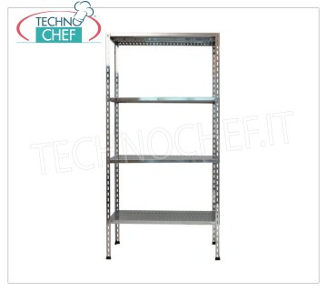 TECHNOCHEF - Stainless steel shelf, module with 4 slotted shelves, 30 cm deep, 180 cm high. Polished 304 stainless steel shelving with 4 slotted shelves, 4x100 Kg global capacity, bolt mounting, 60x30x180h cm module