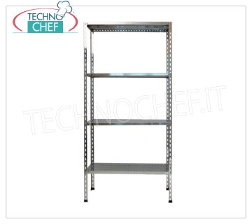 TECHNOCHEF - Stainless steel shelf, module with 4 slotted shelves, 30 cm deep, 200 cm high. Polished 304 stainless steel shelving with 4 slotted shelves, 4x100 Kg global capacity, bolt mounting, 60x30x200h cm module