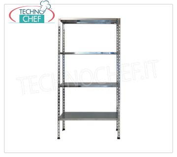 TECHNOCHEF - Stainless steel shelf, module with 4 smooth shelves, 30 cm deep, 180 cm high. Polished 304 stainless steel shelving with 4 smooth shelves, 4x100 Kg global capacity, bolt mounting, 60x30x180h cm module