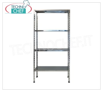 TECHNOCHEF - Stainless steel shelf, module with 4 smooth shelves, 30 cm deep, 200 cm high. Polished 304 stainless steel shelving with 4 smooth shelves, 4x100 Kg global capacity, bolt mounting, 60x30x200h cm module