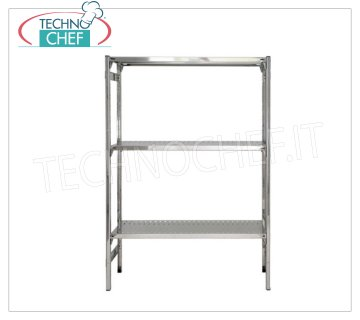 TECHNOCHEF - Stainless steel shelf, module with 3 slotted shelves, 30 cm deep, 150 cm high. Polished 304 stainless steel shelving with 3 slotted shelves, Global capacity 3x100 Kg, hook mounting, 60x30x150h cm module