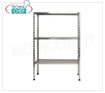 TECHNOCHEF - Stainless steel shelf, module with 3 slotted shelves, 50 cm deep, 150 cm high. Polished 304 stainless steel shelving with 3 slotted shelves, Global capacity 3x135 Kg, bolt mounting, 60x50x150h cm module