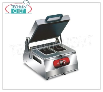EUROMATIC - Technochef, Manual sealer for trays, Mod. SEAL 400 DIGIT MANUAL THERMO-SEALING MACHINE for preformed trays, DIGITAL CONTROLS, for containers with max measurements 265x325 mm, V 230/1, Kw 1.2, external dimensions 400x500x600h mm