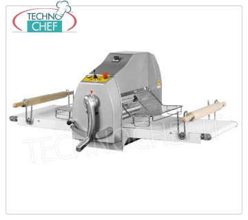 Technochef - PASTRY SHEETER with TAPES 100x50 cm, Professional, Mod.SFO500X1000B Counter top pastry sheeter, shelves with 1000x50 mm BELTS at DIFFERENT SPEED, joystick controls, V.400 / 3, Kw. 0,55, Weight Kg 99, dim.mm. 2000x870x600h