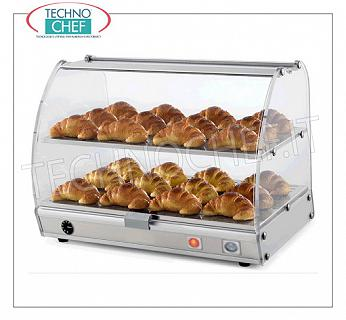 Hot counter display cases DISPLAY HOT EXHIBITOR with 2 FLOORS (1 GN top mm.530x356), ALUMINUM STRUCTURE and transparent PLEXIGLASS on 4 sides, drop doors on the 2 sides, TEMPERATURE from + 30 ° to + 40 ° C, V.230 / 1 , Kw.0,30, Weight Kg.15, dim.mm.550x405x425h