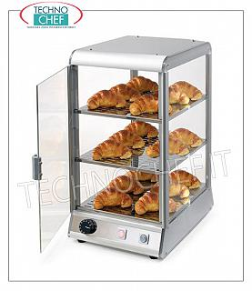 Hot counter display cases DISPLAY HOT EXHIBITOR bench with 3 FLOORS mm.280x330, ALUMINUM STRUCTURE, plexiglass on 4 sides, HINGED DOOR operator side, temperature from + 30 ° to + 70 ° C, with water tank to humidify, V.230 / 1 , Kw.0.45, Weight Kg.16, dim.mm.400x450x570h