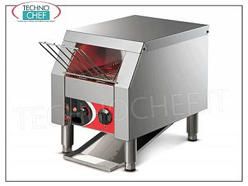 "TAPE BOWL ""Roller Toast"" in stainless steel TAPE TOASTER made of AISI 304 STEEL, AISI 304 STEEL carpet of dimensions 185x500 mm, self-ventilated motor, ARMORED RESISTANCES, HOURLY PRODUCTION from 65 to 360 pieces, V.230 / 1, kw 1.3, dimensions mm 238x294x360h"