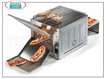 "TAPE BOWL ""Roller Toast"" in stainless steel TAPE TOASTER made of AISI 316 STAINLESS STEEL, AISI 304 STEEL carpet, dimensions 610x820 mm, VARIABLE SPEED, self-ventilated motor, ARMORED RESISTANCE, HOURLY PRODUCTION from 75 to 230 pieces, V.230 / 1, kw 3.0, dimensions mm 450x1270x560h"