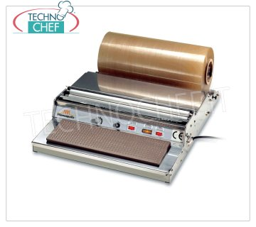 TECHNOCHEF - Manual packaging machine, Film rolls 400 mm, Mod.DISPENSER 45K PACKAGING MACHINE - DISPENSER FILM bench in STAINLESS STEEL, HEATING PLATE 385x125 mm, FLUID PROFILE that does not cause smoke, suitable for film rolls mm 400, V 230/1, kw 0,12, dimensions mm 485x600x140