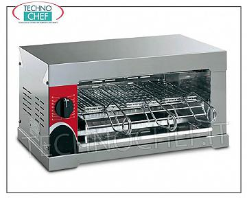 FORNETO TOASTER with 3 CHROMED STEEL PLIERS, COMPLETE RANGE FORNETO TOASTER with 3 CHROMED STEEL PLIERS, made entirely of STAINLESS STEEL, with timer and QUARTZ RESISTANCE, 6 TOAST CAPACITY, internal dimensions 355x240 mm, V.230 / 1, kw 2.4, external dimensions 475x410x240h mm