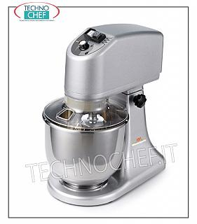 Technochef - 7 lt. Professional Planetary, Liftable Head, 7 liter planetary mixer, professional, with liftable head, complete with: whisk, hook and spatula, V 230/1, kw 0.28, dim. mm 240x410x437h