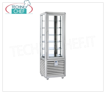 Refrigerated Pastry Display Cabinet 1 Door, 4 display sides, 6 rotating shelves, CURVE Line Refrigerated display cabinet for Pastry 1 door, CURVE line, with 4 display sides, 6 rotating glass shelves, capacity 360 liters, operating temperature + 4 ° / + 10 ° C, ventilated refrigeration, V.230 / 1, Kw. 0,54, Weight 155 Kg, dim.mm.620x620x1860h
