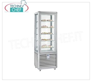 Refrigerated Pastry Display Cabinet 1 Door, 4 display sides, 5 rectangular shelves, CURVE Line Refrigerated display cabinet for Pastry 1 door, CURVE Line, with 4 display sides, 5 rectangular glass shelves, capacity 360 liters, operating temperature + 4 ° / + 10 ° C, ventilated refrigeration, V.230 / 1, Kw. 0,54, Weight 155 Kg, dim.mm.620x620x1860h