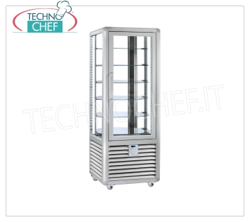 Refrigerated Pastry Display Cabinet 1 Door, 4 display sides, 6 rotating shelves, CURVE Line Refrigerated display cabinet for Pastry 1 door, CURVE Line, with 4 display sides, 6 rotating glass shelves, capacity lt. 427, operating temperature + 4 ° / + 10 ° C, ventilated refrigeration, V.230 / 1, Kw. 0,54, Weight 170 Kg, dim.mm.720x620x1860h