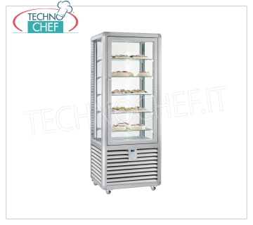 Refrigerated Pastry Display Cabinet 1 Door, 4 display sides, 5 rectangular shelves, Static Refrigerated display cabinet for Pastry 1 door, CURVE Line, with 4 display sides, 5 rectangular glass shelves, capacity lt. 427, operating temperature + 4 ° / + 10 ° C, static refrigeration, V.230 / 1, Kw. 0,54, Weight 170 Kg, dim.mm.720x620x1860h