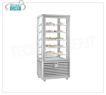 Refrigerated Pastry Display Cabinet 1 Door, 4 display sides, 5 rectangular shelves, CURVE Line Refrigerated display cabinet for Pastry 1 door, CURVE Line, with 4 display sides, 5 rectangular glass shelves, capacity lt. 541, operating temperature + 4 ° / + 10 ° C, ventilated refrigeration, V.230 / 1, Kw. 0,54, Weight 176 Kg, dim.mm.900x620x1860h