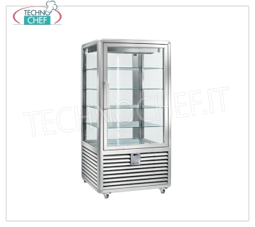 Refrigerated Pastry Display Cabinet 1 Door, 4 display sides, 4 rectangular shelves, CURVE Line Refrigerated display cabinet for Pastry 1 door, CURVE Line, with 4 display sides, 4 rectangular glass shelves, capacity 832 lt, operating temperature + 4 ° / + 10 ° C, ventilated refrigeration, V.230 / 1, Kw. 0,54, Weight 260 Kg, dim.mm.900x900x1860h