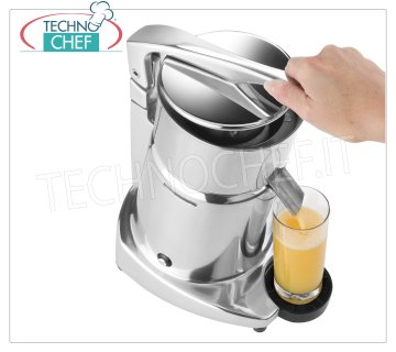 Electric citrus juicer with lever, Professional, Mod SL98 ELECTRIC CITRUS JUICER manual operation with lever, structure in LIGHT ALLOY, PAINTED version, asynchronous motor THERMAL PROTECTED, V. 230/1, Kw 0.30, Weight 8.5 kg, dimensions mm 230x200x350h