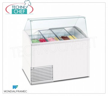 MONDIAL FRAMEC - Display cabinet for creamed ice cream, lt.431, Mod.SLANT510ICE Display cabinet for creamed ice cream, MONDIAL FRAMEC, capacity 431 liters, temperature -15 ° / -20 ° C, static with evaporator wrapped in the tank, V. 230/1, Kw 0.28, Weight 103 Kg, dim.mm.1341x725x1235h
