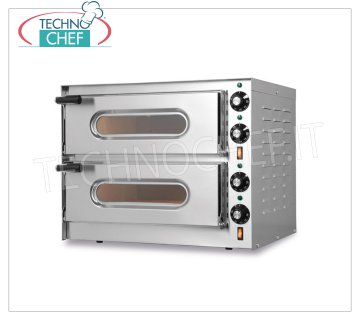 TECHNOCHEF - Electric oven for pizza, 2 rooms, mod. SMALL / G2 Electric pizza oven 2 independent rooms measuring 410x360x110h mm, with refractory top, V. 230/1, Kw 3.2, external dimensions 550x430x435h mm
