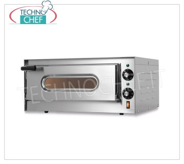 TECHNOCHEF - Electric oven for pizza, 1 chamber, Mod.SMALL G Electric pizza oven for 1 PIZZA diameter 330 mm, 1 CAMERA from 410x360x110h mm with refractory top, V 230/1, Kw 1.6, external dimensions 550x430x255h mm