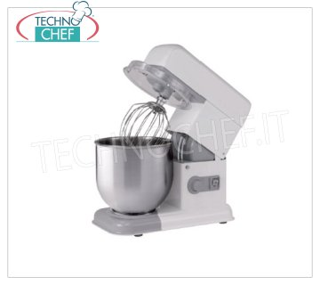 TECHNOCHEF - 7 lt. Planetary Professional Dough Mixer, for Banco, mod. Smart7 Bench-top Planetary mixer with 7-liter stainless steel bowl, electric speed variator, V.230 / 1, Kw.0.5, Weight 18 Kg, dim.mm.230x400x420h