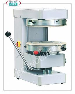 Cold pizza making machines with 400 mm diameter discs, mod. SPZ40M SIGMA pizza forming machine, COLD SEMIAUTOMATIC with MICRO-THROUGH ACTION DISC diameter 400 mm, V 230/1, kW 0.55, weight 120 kg, dim. mm 570x670x770h