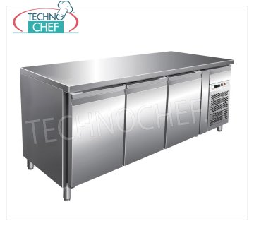 Forcar - Frigor Table 3 Doors, Temp. -2 ° / + 8 ° C, lt. 339, Ventilated, Class B, mod.G-SNACK3100TN Refrigerated Counter Table 3 DOORS and neutral drawer, Professional, SNACK Line, temp. -2 ° / + 8 ° C, capacity 339 liters, ventilated refrigeration, ECOLOGICAL in Class B, Gas R290, V.230 / 1, Kw.0, 26, Weight 125 Kg, dim.mm.1795x600x860h