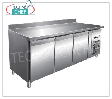 Forcar-Frigor Table 3 Doors with Upstand, Temp. -2 ° / + 8 ° C, lt. 339, Ventilated, Class B, G-SNACK3200TN 3 DOOR Refrigerated Counter Table with upstand and neutral drawer, Professional, SNACK Line, temp. -2 ° / + 8 ° C, capacity 339 liters, ventilated refrigeration, ECOLOGICAL in Class B, Gas R290, V.230 / 1, Kw. 0,26, Weight 136 Kg, dim.mm.1795x600x860 / 960h