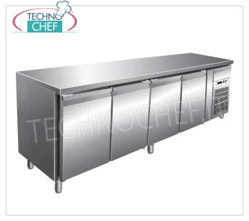 Forcar - Frigor Table 4 Doors, Temp. -2 ° / + 8 ° C, lt. 449, Ventilated, Class C, mod.G-SNACK4100TN Refrigerated Counter Table 4 DOORS and neutral drawer, Professional, SNACK Line, temp. -2 ° / + 8 ° C, capacity 449 liters, ventilated refrigeration, ECOLOGICAL in Class C, Gas R290, V.230 / 1, Kw.0, 26, Weight 143 Kg, dim.mm.2230x600x860h