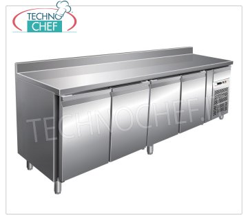 Forcar-Frigor Table 4 Doors with Upstand, Temp. -2 ° / + 8 ° C, lt. 449, Ventilated, Class C, G-SNACK4200TN 4 DOOR Refrigerated Counter Table with upstand and neutral drawer, Professional, SNACK Line, temp. -2 ° / + 8 ° C, capacity 449 liters, ventilated refrigeration, ECOLOGICAL in Class C, Gas R290, V.230 / 1, Kw. 0,26, Weight 160 Kg, dim.mm.2230x600x860 / 960h