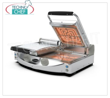 SPIDOCOOK - Electric Hob, Double Transparent Smooth Ceramic Glass Plate, Mod.SP020T GLASS CERAMIC HOB, SPIDOGLASS Line, with transparent smooth lower surface and 2 upper self-balanced transparent shelves, MANUAL COMMANDS, temp. from 120 ° to 400 ° C, V.230 / 1, Kw 2.00, weight 17 Kg, dim.mm.619x458x176h