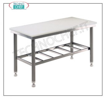 Butchery tables with polyethylene top 25 mm thick, 700 mm deep Butcher work table with 25 mm thick polyethylene top, on ROBUST WELDED STAINLESS STEEL STRUCTURE with lower grid shelf, dim. mm 1000x700x850h