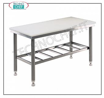 Butcher tables with 80 mm thick polyethylene top, 700 mm depth Butchery work table with 80 mm thick polyethylene top, on RUGGED STAINLESS WELDED STRUCTURE with grilled lower shelf, dim. 1000x700x850h mm