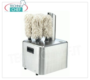 Technochef - GLASS DRYER with 5 ROTATING BRUSHES, Productivity 350 glasses / h, Mod. SPEEDYGLASS Professional tumble dryer with 5 rotating brushes, max production 350 cups / h, V.230 / 1, Kw.1,35, Weight 15,5 Kg, dim.mm.325x300x500h
