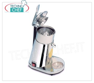 Electric citrus juicer with LEVER, Professional, Mod. 2072 / EL Electric citrus juicer operated with LEVER, body in chromed ABS, removable stainless steel tray, speed 900 rpm, version with polycarbonate cone, V.230 / 1, Kw.0.45, Weight 8 Kg, dim.mm.200x320x530h