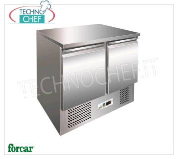 Forcar - Refrigerated Table 2 Doors, lt. 240, Temp. -12 ° / -18 ° C, Static, Class D, mod.G-SS45BT Freezer table 2 doors, Professional, capacity lt. 240, temperature -12 ° / -18 ° C, Gastronorm 1/1, static refrigeration with Fan to uniform the temperature, ECOLOGICAL in Class D, Gas 290, V.230 / 1, Kw.0,26, Weight 86 Kg, dim.mm.943x700x850h
