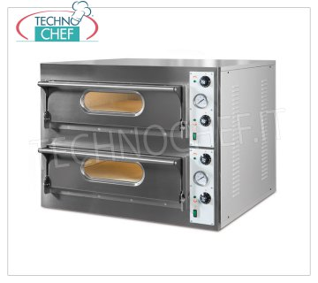 TECHNOCHEF - Electric Pizza Oven, 2 chambers, N.9 + 9 Pizzas Ø 36 cm, Mod.START 99 BIG Electric pizza oven for 9 + 9 PIZZAS diameter 360 mm, 2 INDEPENDENT ROOMS from 1080x1080x140h mm with refractory top, V 380/3 + N, Kw 26,4, external dimensions 1310x1225x710h mm