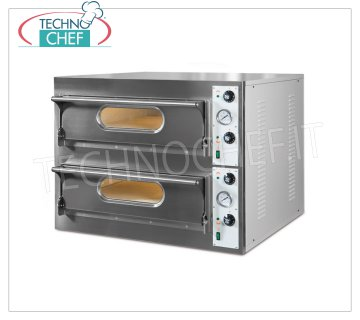 TECHNOCHEF - Electric Pizza Oven, 2 bedrooms, 4 + 4 Pizzas Ø 33 cm, Mod.START 44 Electric pizza oven for 4 + 4 PIZZAS diameter 330 mm, 2 ROOMS from 660x660x140h mm with refractory top, V 380/3 + N, Kw 9.4, external dimensions mm 940x920x710h