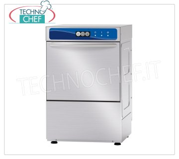 TECHNOCHEF - Professional Bar glasswashers, 40x40 cm square basket, mechanical controls GLASSWASHERS with 400x400 mm SQUARE basket, ELECTROMECHANICAL controls, 1 cycle of 120 sec, 30 baskets / hour, max glasses height 240 mm, electric rinse aid dispenser, V.230 / 1, Kw.2,79, Weight 44 Kg, dim. mm.470x535x660h