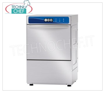 TECHNOCHEF - Professional Bar glasswashers, 40x40 cm square basket, mechanical controls GLASSWASHER with 400x400 mm QUADRO, version with ENHANCED WASHING, ELECTROMECHANICAL controls, 1 cycle of 120 sec, 30 baskets / hour, max glasses height 275 mm, electric rinse aid dispenser, V.230 / 1, Kw 2.86, Weight 48 Kg, dim.mm.470x535x710h.