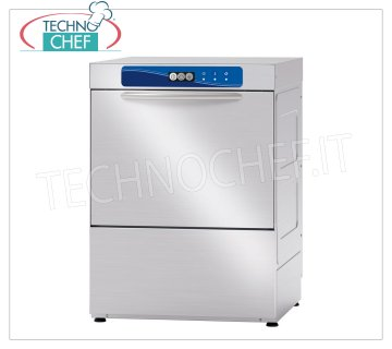 TECHNOCHEF - Professional Dishwasher, 50x50 cm square basket, mechanical controls STAINLESS STEEL DISHWASHER with 500x500 mm QUADRO basket, front loading, ELECTROMECHANICAL controls, 1 cycle of 120 sec, 30 baskets / hour, max glasses height 320 mm, electric rinse aid dispenser, V.230 / 1, Kw 3.12, Weight 69 Kg, dim.mm.585x610x815h
