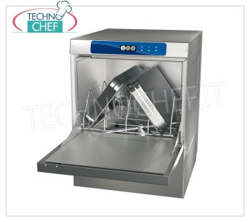 TECHNOCHEF - Dishwasher-Dishwashing Undercounter, Basket 500x600 mm DISHWASHER-WASHING TABLE undercounter with 50x60 cm basket, suitable for GN 1/1 or mm.600x400 trays, front loading, control panel with buttons, double detergent and rinse aid dispenser, V.400 / 3 + N, Kw.6, 52, dim.mm.585x740x865h