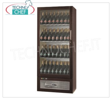 Technochef - 1 Door Wine Refrigerator, for 108/105 Bottles, Static, Temp. + 6 ° / + 12 ° C. Refrigerated wine cellar in wood, 1 glass door, capacity 108/105 bottles, temperature + 6 ° / + 12 ° C, static, LED lighting, V.230 / 1, Kw.0,275, weight 122 kg, dim. mm.830x551x1925h